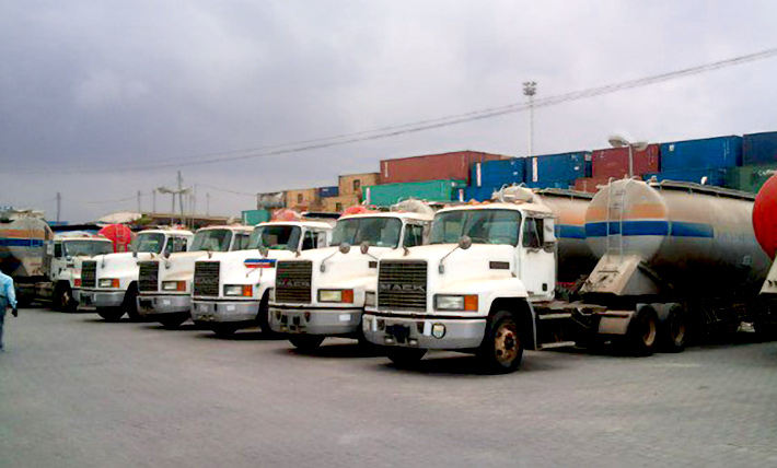 Fleet of mack trucks