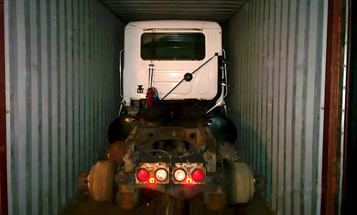 Truck in container